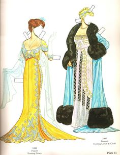 Great Fashion Designs of La Belle Époque Paper Dolls by Tom Tierney - Dover Publications, Inc.,1982: Plate 11 (of 16)