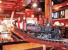 """PC Junction---Door County WI restaurant! Food at the """"bar"""" area comes on the train! (Great play area out back)"""