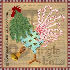 Jingle Bells Outdoor Tin Sign by artist Sarah Hudock, ChickenArt.com - I am happy if you Pin and Share, but please respect my copyright: my artwork is NOT free to print out or use! Thank you. © 2015 Sarah Hudock, ChickenArt.com all rights reserved.