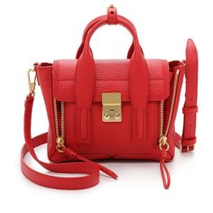 3.1 Phillip Lim Pashli Mini Satchel (6765 MAD) ❤ liked on Polyvore featuring bags, handbags, red, red leather purse, red leather handbag, leather flap handbag, leather satchel purse y satchel purse
