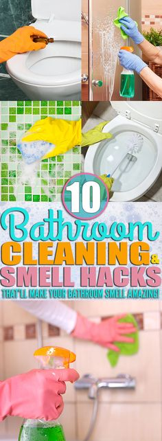 If you're looking for ways to clean your, toilet, shower, and everything else in your bathroom then you need to check out these bathroom cleaning tips. I learned how to clean my bathroom and make my bathroom smell AMAZING from the cleaning hacks and smell hacks in this post! Make your bathroom clean and smell amazing with the cleaning tips from this post! You have to try these spring cleaning tips in your bathroom TODAY! #cleaninghacks  #cleaningtips #bathroomhacks #springcleaning