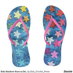 Shop Boho Rainbow Stars on Denim Print Flip Flops created by Zula_Crochet_Prints. Rainbow Crochet, Crochet Stars, Boho Shoes, Rainbow Star, Beach Flip Flops, Flip Flop Shoes, Womens Flip Flops, Beaded Flowers, Boho Fashion