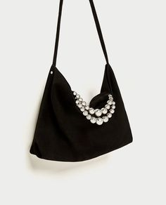 Gorgeous Black Suede Tote Bag Decorated With Silver Pearls