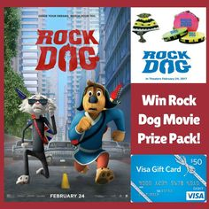 Enter for a chance to win Rock Dog Movie Prize Pack! Includes: $50 VISA GIFT CARD to see the film in theaters and a Beanie, Tambourine and Temporary Tattoo! Plus FREE PRINTABLE Coloring Pages!