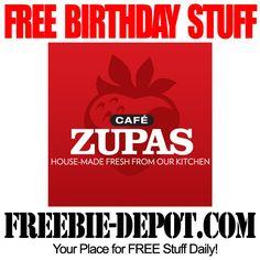 FREE BIRTHDAY STUFF – Cafe Zupas – FREE Birthday Meal – FREE BDay Food – Birthday Freebie Rewards