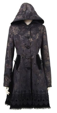beautiful black brocade coat <3