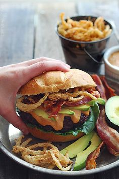 do-not-touch-my-food: Bacon Burgers with BBQ Mayo and Onion Strings
