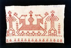 Karelian embroidery, double sided running stitch, Aunuksen kirjonta 1800-l