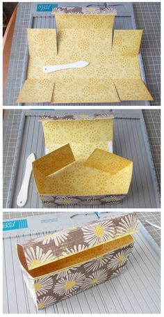 DIY box: Easy Box Tutorial made out of one sheet of 12 x 12 Scrapbook Paper. This perfect size treat box can easily hold a small gifts or homemade treats. Printable step by step instructions included too. Craft Projects, Projects To Try, Craft Ideas, Welding Projects, Papier Diy, Envelope Punch Board, Cookie Box, Paper Folding, Diy Box