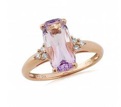 Rose de France Amethyst Birthstone Ring in 9ct Gold, February Birthstone