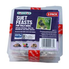 Triple Pack of Suet Feasts - Three suet cakes to tempt your garden birds including Peanut, Fruit and Berry. 10cm x 10cm   Suet or fat foods are a real aid to survival for most of the year, providing lots  of protein and essential calories that the birds constantly need to replace. It  is estimated that birds need to consume 30-40% of their body weight in food  each day to maintain fitness and provide energy to survive long cold nights.