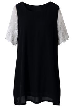 Lace Crochet Sleeve Chiffon Top in Black - Tops - Retro, Indie and Unique Fashion