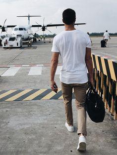 DJ and style blogger Brendan Fallis is jet-set in Armani Exchange.