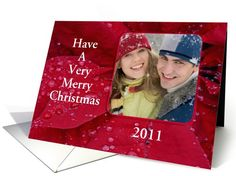 Merry Christmas-Poinsettias-Custom-Photo Card