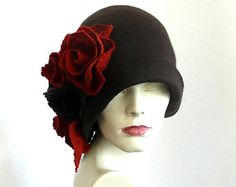 Dark brown felt hat felt Cloche hat felted hat Hat 1920 Hat Art Brown Hat Cloche Victorian 1920's Women's hat roses Downton Abbey hats