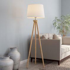 Lavish Home 58 in. Modern Natural Wood Oak Tripod LED Floor Lamp with White Shade Lavish Home 58 in. Swing Arm Floor Lamp, Floor Standing Lamps, Led Floor Lamp, Modern Floor Lamps, Modern Lighting, White Floor Lamp, West Elm Floor Lamp, Tripod Lamp, Desk Lamp