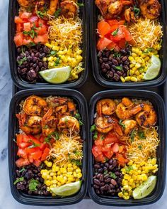(NEW!)  Insanely delicious spicy  spiced shrimp #mealprep bowls loaded with  black beans,  brown  and  . Make a week's worth of lunch in under 30 minutes.  Recipe @gimmedelicious  #food #recipes #fitness #weightloss #weightlossrecipes #fitfood #shrimp #mealprepping #skinny