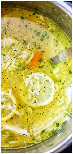 Instant Pot Lemon Chicken Orzo Soup - homemade chicken soup from scratch loaded with chicken, veggies, orzo pasta, and fresh lemon juice. Made in less than an hour using the Instant Pot. Homemade Chicken Soup, Chicken Soup Recipes, Pastina Soup, Lemon Chicken Orzo Soup, Crock Pot Soup, Hot Soup, Food Is Fuel, Soup And Salad, Cooker Recipes