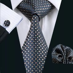 """This is a very nice coordinating brand new silk tie set. Includes tie, pocket square (handkerchief) and cuff links. Makes a great gift idea!  Tie length is 61"""" from top to bottom. The width at the largest portion is 3.25"""". ✨Please note, this item requires three (3) weeks to ship. Please take the shipping time into consideration when placing your order. Thank you ✨ This item is available for International shipping.  
