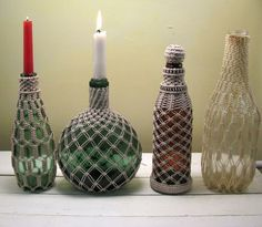 Set of Four Vintage 70s Hippie Candle Holder Bottles Hand Macrame from NowVintage on Etsy