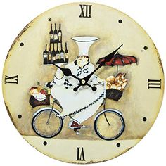 Home Decoration Vintage Style Shabby Chic MDF Chef on Bicycle Scene Vintage Style Wall Clock with Roman Numerals Obique http://www.amazon.co.uk/dp/B00QKKJIM0/ref=cm_sw_r_pi_dp_05zKub1C6B3C7