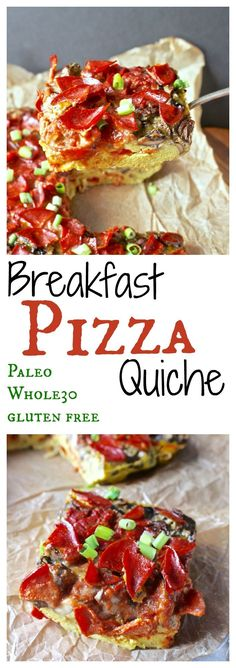 Breakfast Pizza Quiche- the most delicious way you'll ever have eggs!! Paleo, whole30, gluten free and so much flavor!