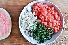 quinoa salad with watermelon, feta and basil