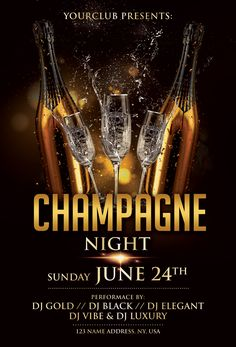 Download Champagne Night PSD Flyer Template for free. This black & gold flyer is editable and suitable for any type of birthday bash, luxury event, dj, music promotion and other. Food Menu Design, Flyer Design, Birthday Flyer, Birthday Bash, Make A Flyer, Roll Up Design, Free Psd Flyer Templates, Club Poster, Champagne Party