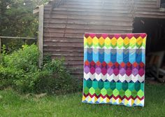 Cascade quilt designed for Angled online class by StitchedInColor