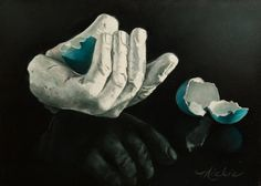 A Bird In The Hand, by Mickie Acierno. Still Life. Egg Shells. www.mickie.ca