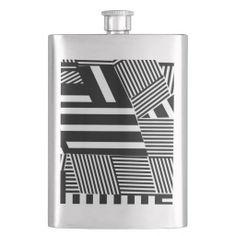 Classic Black and White Stripe Flask