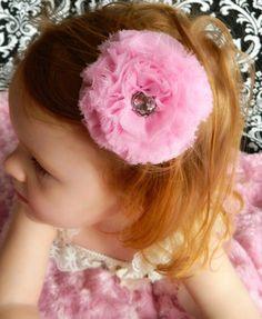 Pink Shabby Chic Flower Hair Clip by SonBel on Etsy, $5.00