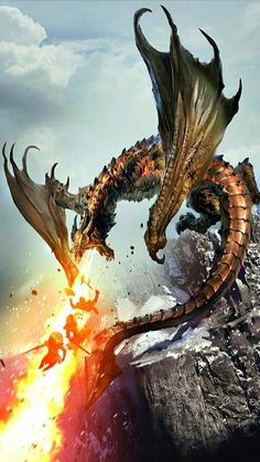 Young Brass Dragon Breath Wall vs Party of 3 Mountain Elder Scrolls Art lg Smaug Dragon, Skyrim Dragon, Dragon Rpg, Fantasy Dragon, Fire Dragon, Fantasy Creatures, Mythical Creatures, Legendary Dragons, Dragon Artwork