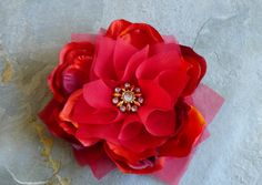 Small Red Hair Flower Fascinator