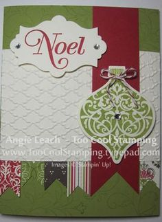 Ornament with Candlelight Christmas banners - green