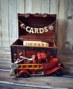Fire fighter wedding-fire fighter-wedding trunk-wedding card holder-wedding card holder-wood wedding trunk-Fireman on Etsy, $53.00