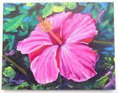 Pink Hibiscus Original Acrylic Painting from Kauai Hawaii - Shocking Pink Pantone Color - Tropical Flower Art - Hot Pink Hibiscus Hawaiian (250.00 USD) by kauaiartist