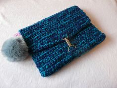 Petrol and Navy Over Sized Crochet Clutch Bag by CWKnitwear