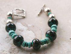Turquoise Blue Green Bracelet / Rustic Earthy by MissieRabdau, $75.00