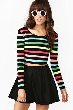 Highlighter Sweater Crop Top