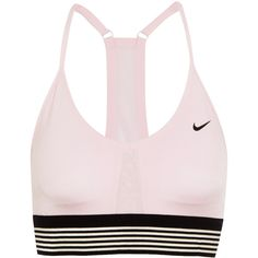 Nike Indy mesh-trimmed Dri-FIT stretch-jersey sports bra ($45) ❤ liked on Polyvore featuring activewear, sports bras, gym, stretch jersey, nike sportswear, nike sports bra, low impact sports bra and striped sports bra