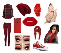 """Red Day"" by heyitzfran on Polyvore featuring Hudson, Madewell, Halogen, Lime Crime, Converse, Swatch, Barneys New York and Piggy Paint"