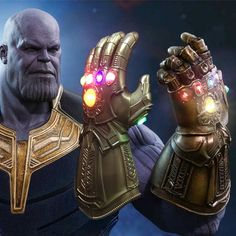 Avengers 4 GUERRA INFINITO INFINITY GAUNTLET LED Luce THANOS Guanti Cosplay Prop
