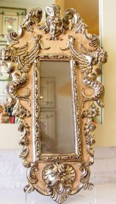 ANTIQUE MERMAID MIRROR ~ 1800S ~ CORAL, SILVER, GOLD ~ STUNNING ~