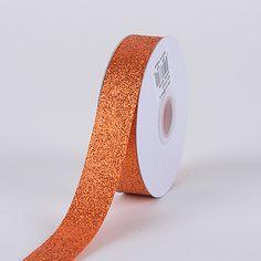 Orange Metallic Glitter Ribbon 7/8 Inch 25 Yards