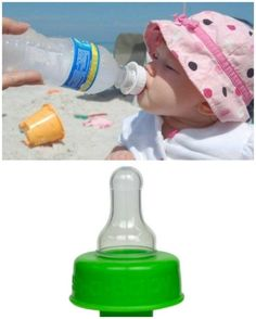 An adapter that will turn most water bottles into a baby bottle. #BabyTips