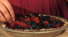Raw three-berry pie with Coconut Almond Crust    Blackberries, blueberries and raspberries!    http://savethekales.wordpress.com/2012/07/17/episode-3-vegetarian-summerfest-graphic-design-sandwiches-and-raw-pie/