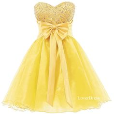 Yellow Homecoming Dresses, Sweet 16 Dress, Sweetheart Organza Short Cute Homecoming Dresses / Party Dresses / Prom Dresses