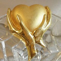 Vintage Heart in Hands Brooch. Brushed & Shiny Gold Tone. Abstract. from waalaa on Ruby Lane