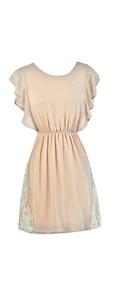 Trim The Edges Beige Lace Ruffle Sleeve Dress  www.lilyboutique.com